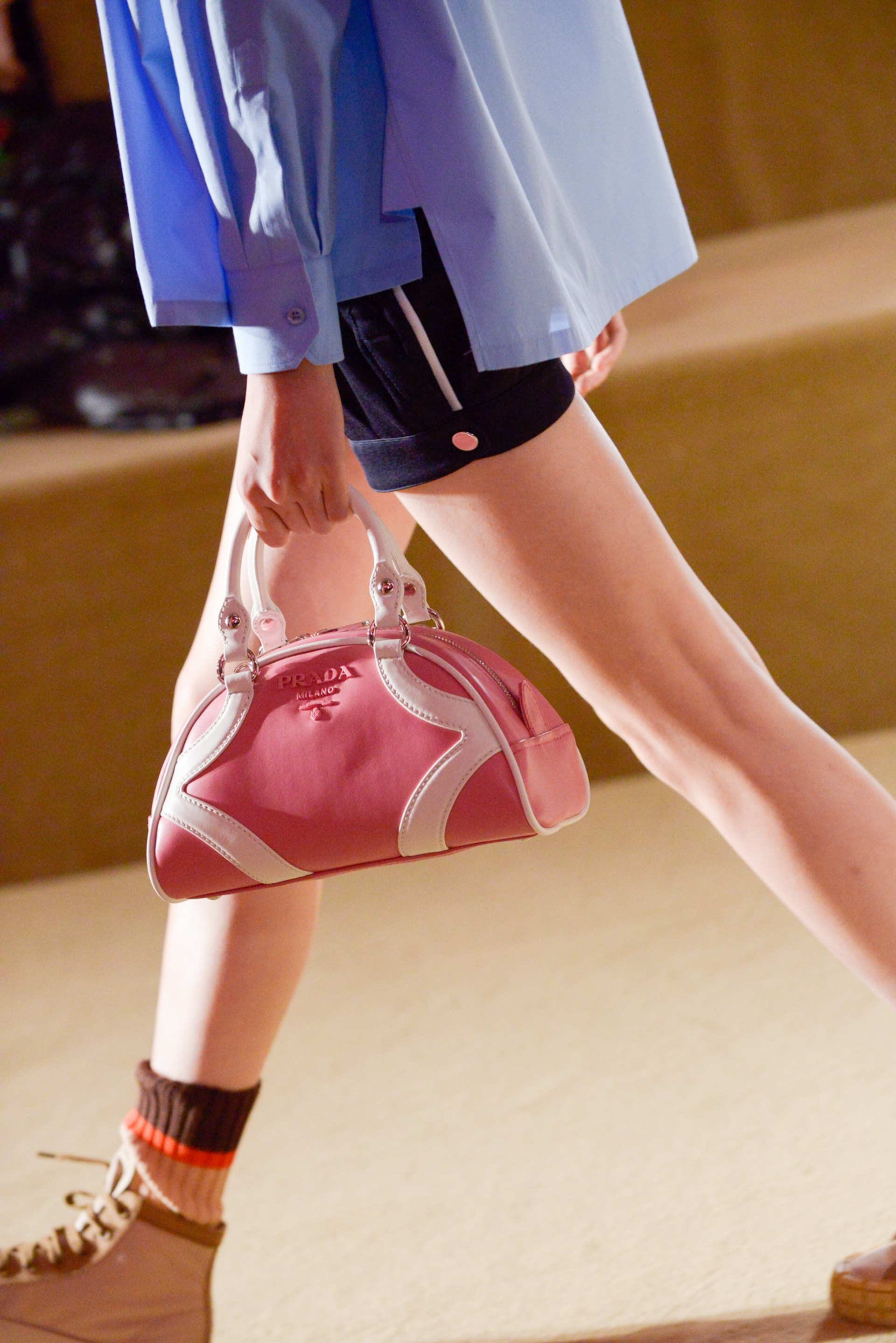 Prada Resort 2020 fashion show detail 4 with bowling bag