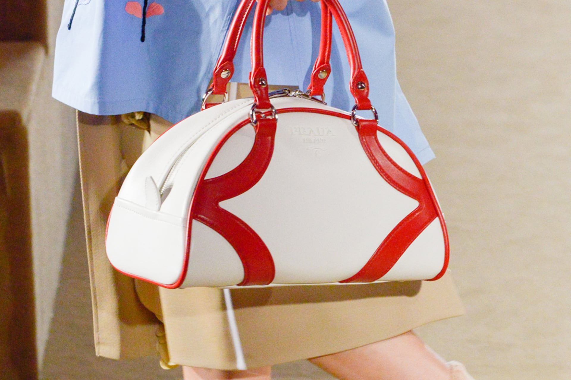 Prada Resort 2020 fashion show detail 1 with bowling bag and shoes