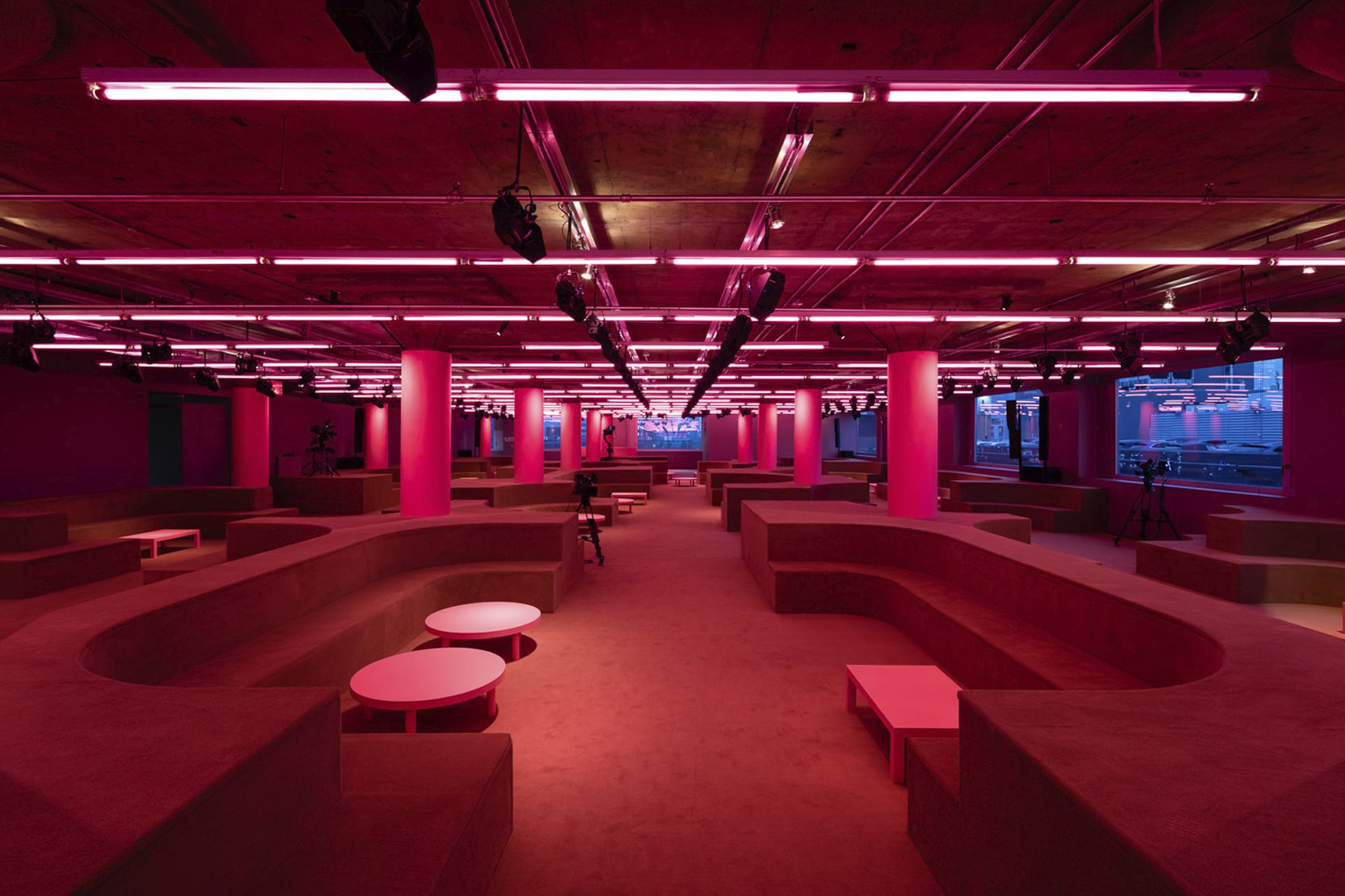 Prada Resort 2020 fashion show space 3. For the Prada 2020 Resort Show, AMO takes over the Piano Factory, Prada US's headquarters, and reinterprets it as an intimate setting for social gathering.