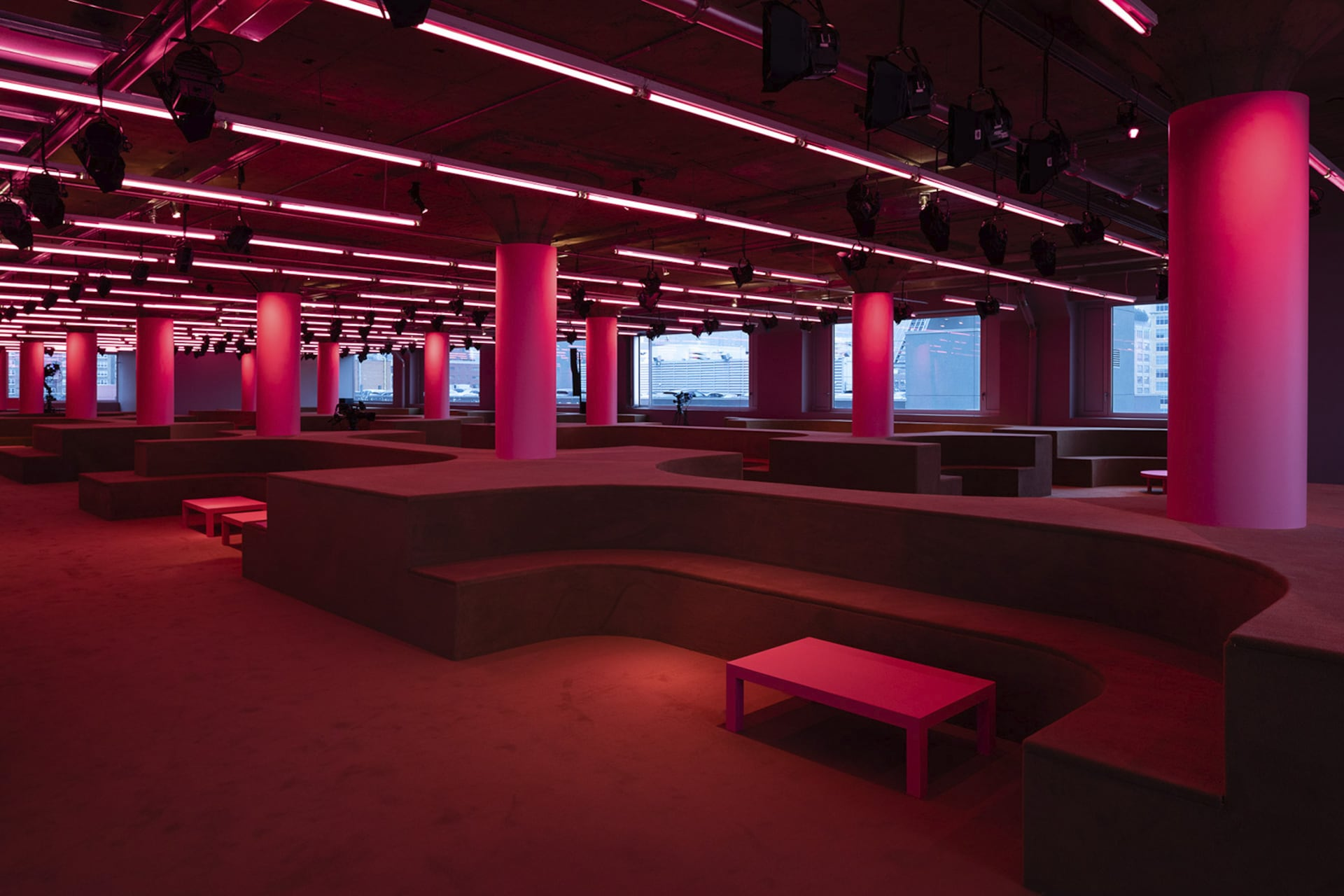 Prada Resort 2020 fashion show space 5. For the Prada 2020 Resort Show, AMO takes over the Piano Factory, Prada US's headquarters, and reinterprets it as an intimate setting for social gathering.