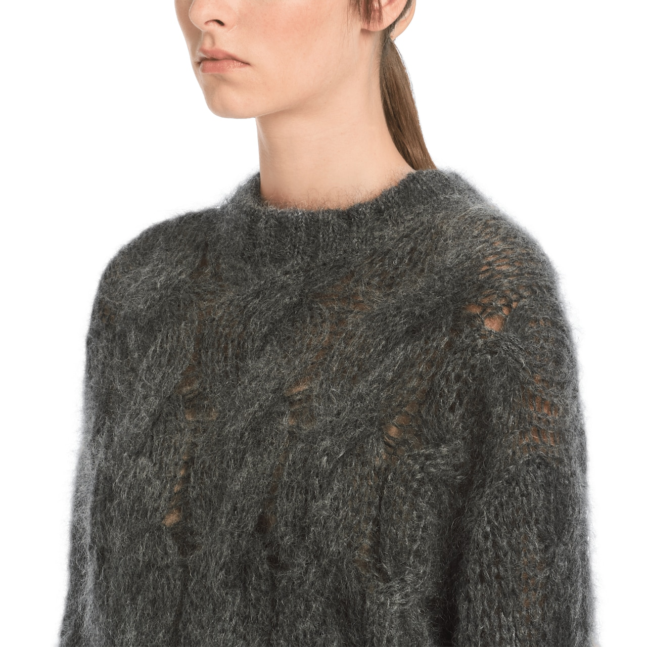 Cropped mohair wool sweater