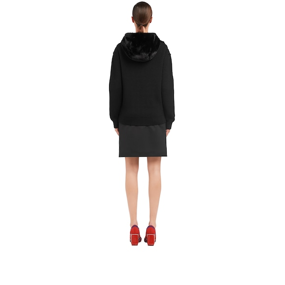 Hooded knit cardigan with mink trim