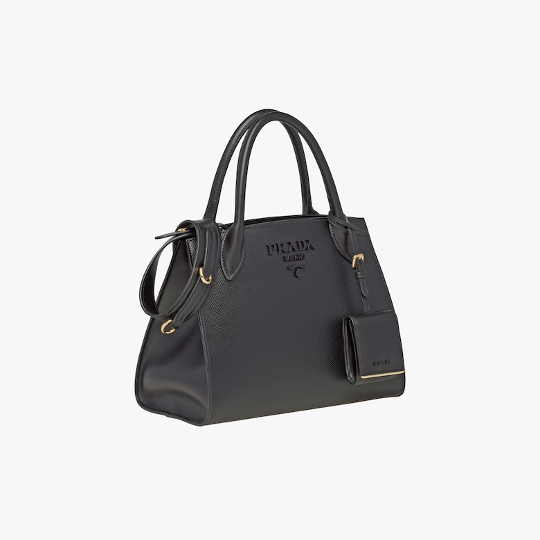 e9d633eedabf The refined front of the bag is completely monochrome. Made of fine Saffiano  leather, it is characterized by the distinctive tone-on-tone effect of the  ...