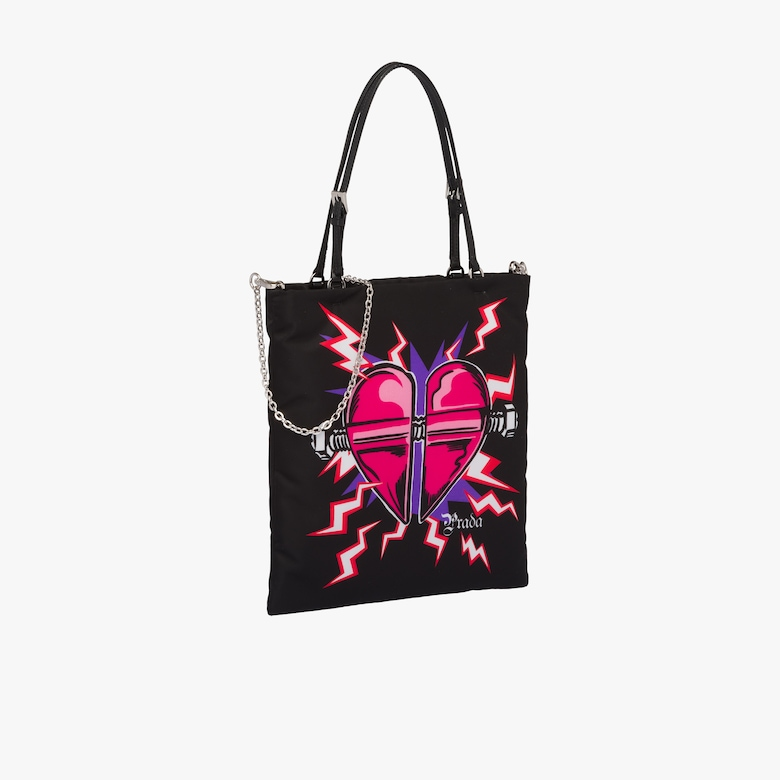Heart print nylon handbag