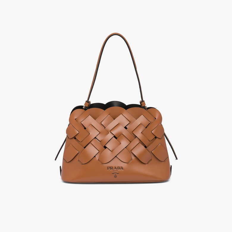 Prada Leather handbag with large woven motif - Woman