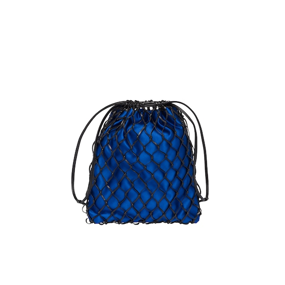 Mesh and satin clutch