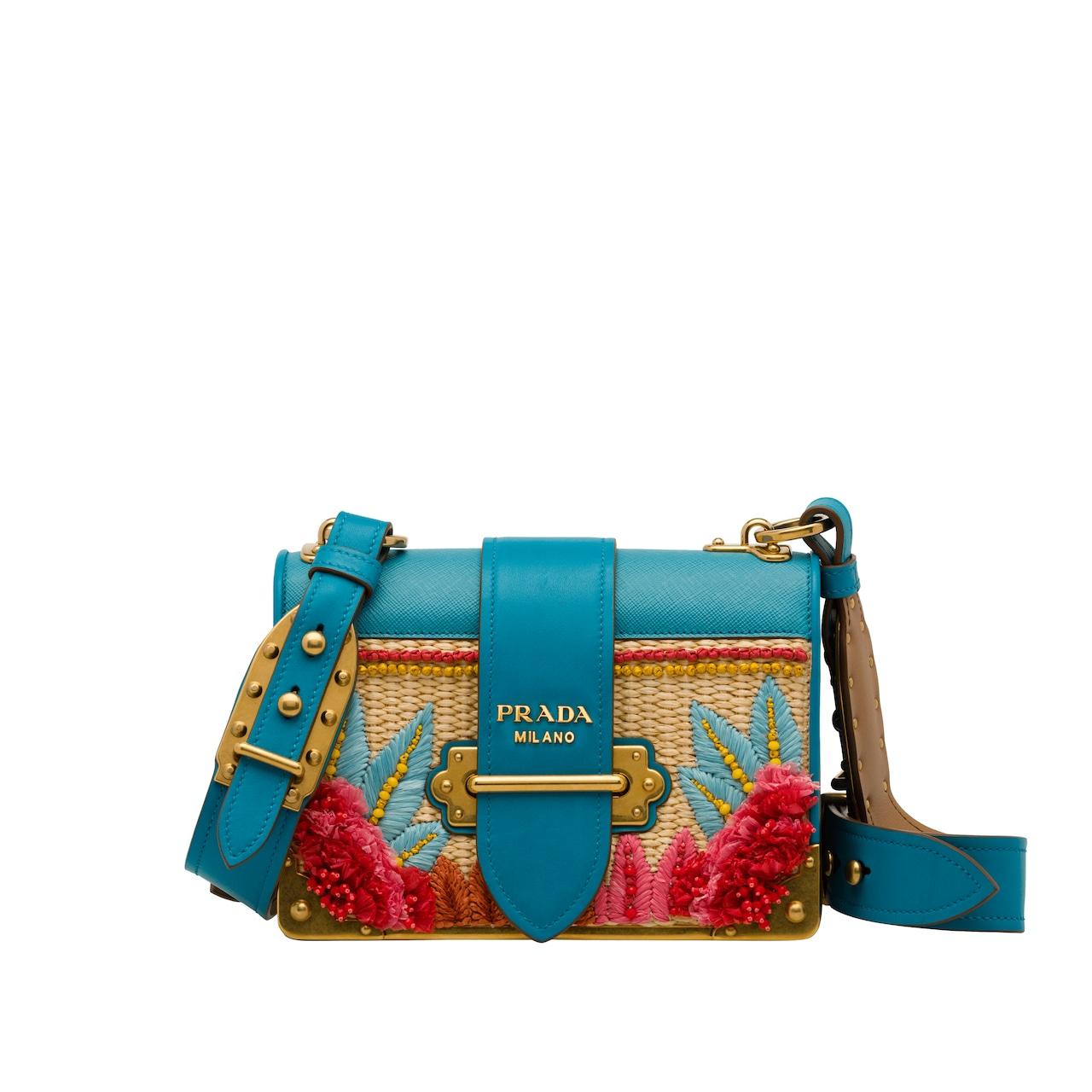 Prada Cahier straw and leather bag