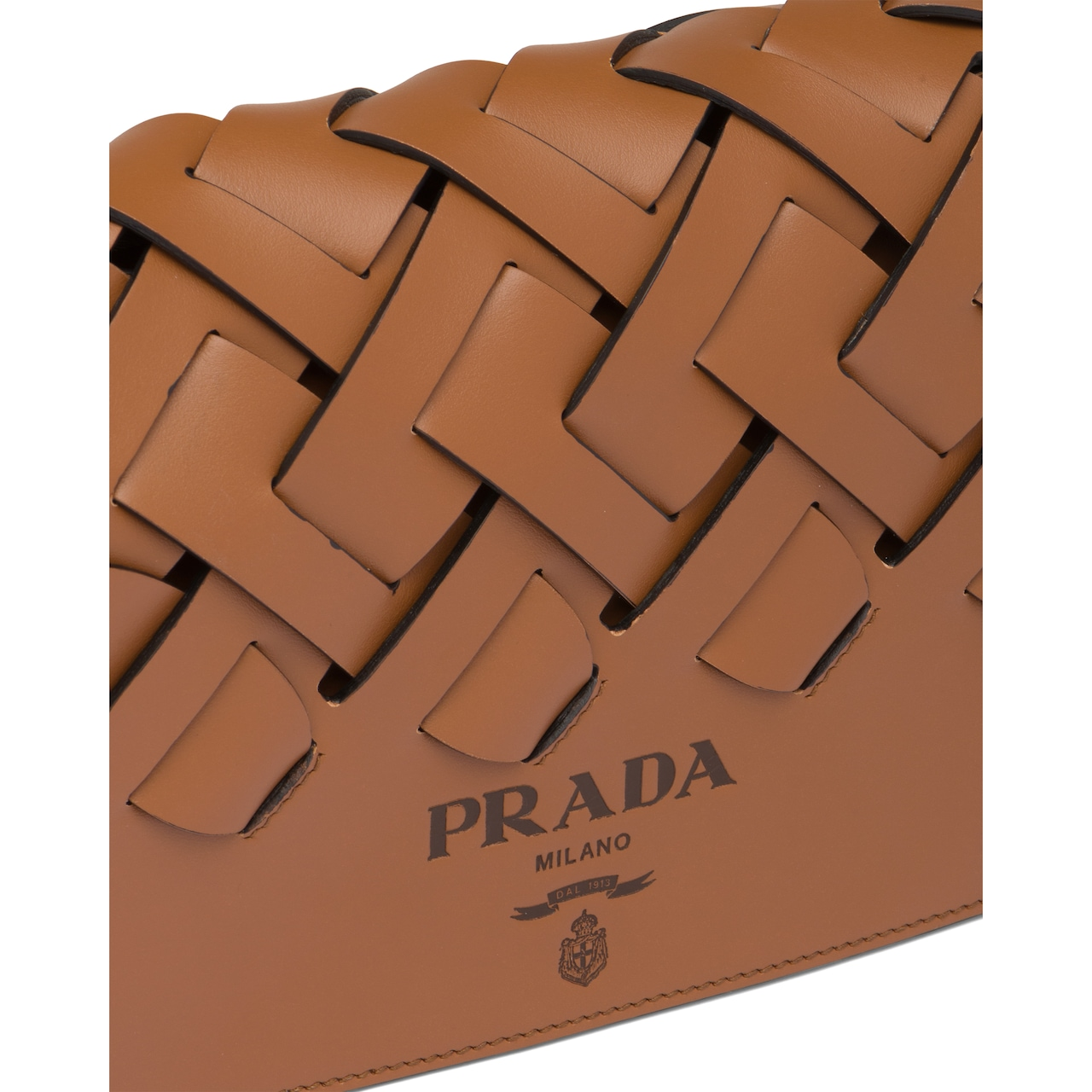 Prada Leather shoulder bag with large woven motif 6