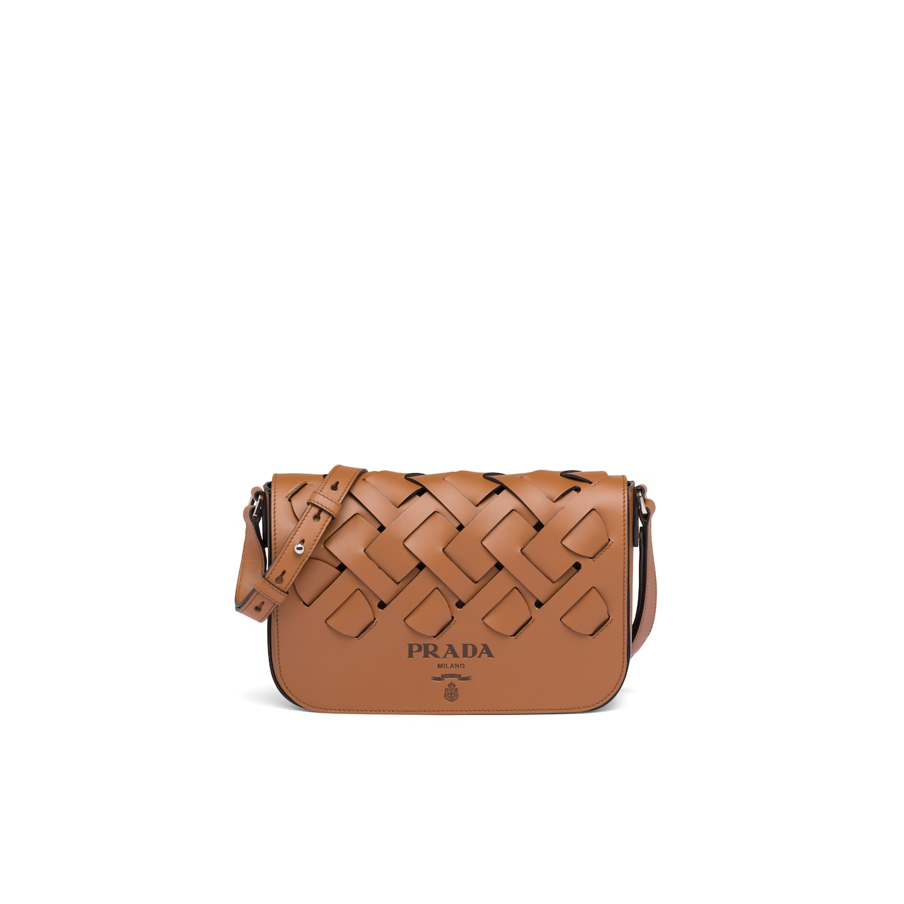 Prada Leather shoulder bag with large woven motif 1
