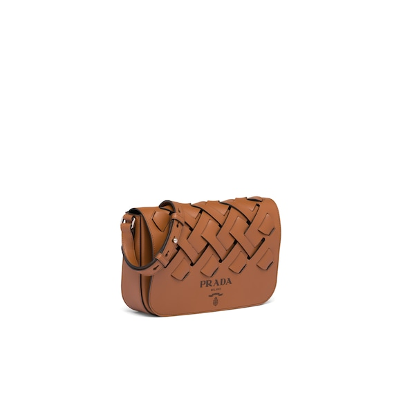 Prada Leather shoulder bag with large woven motif 2