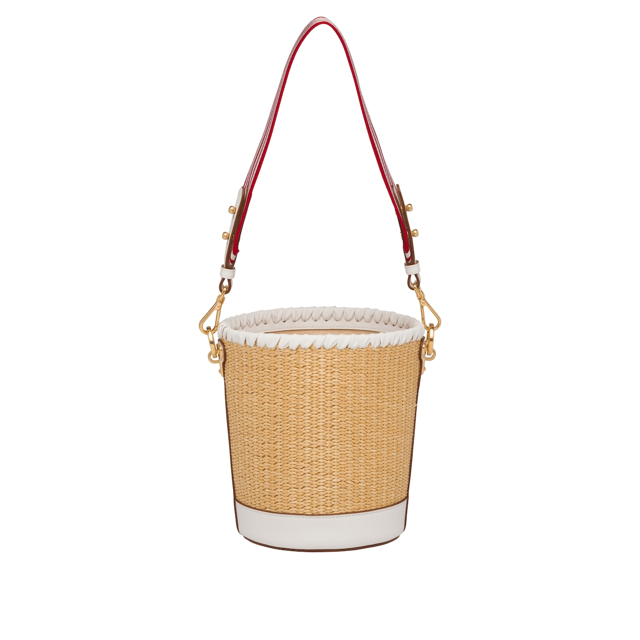Straw and leather bucket bag