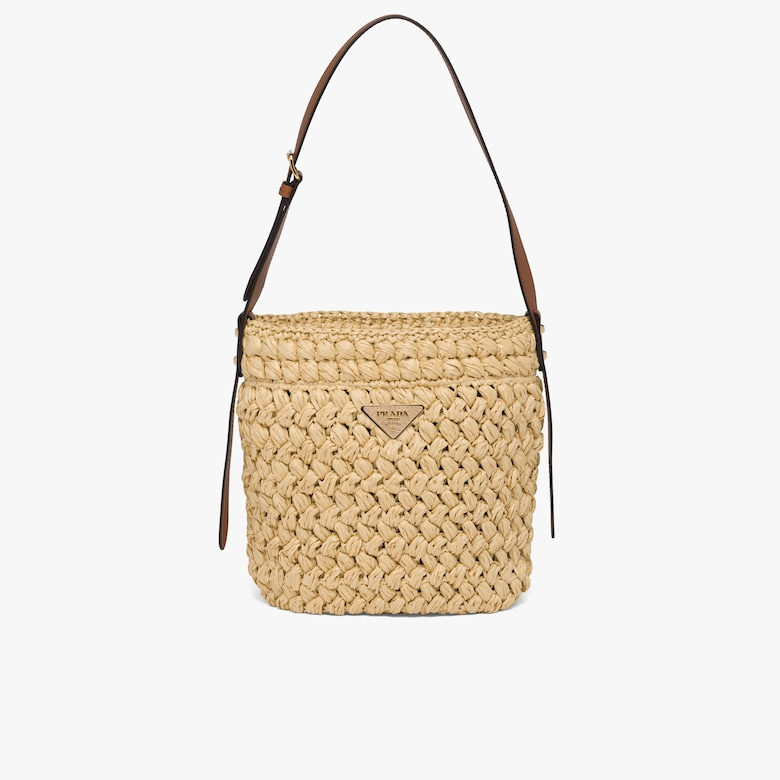 Prada Crocheted raffia and leather bucket bag - Woman