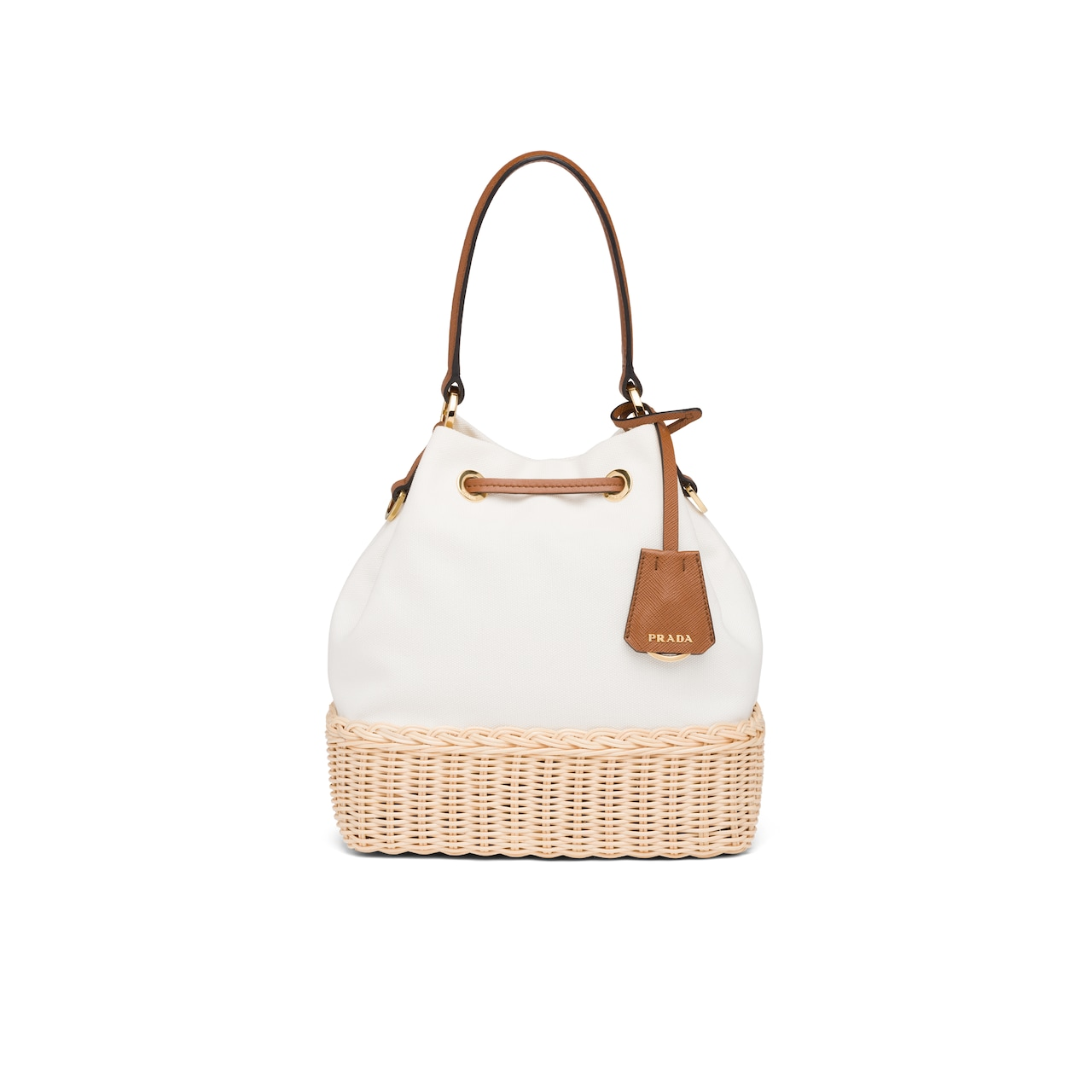 Prada Prada Plage wicker and canvas bucket bag 4