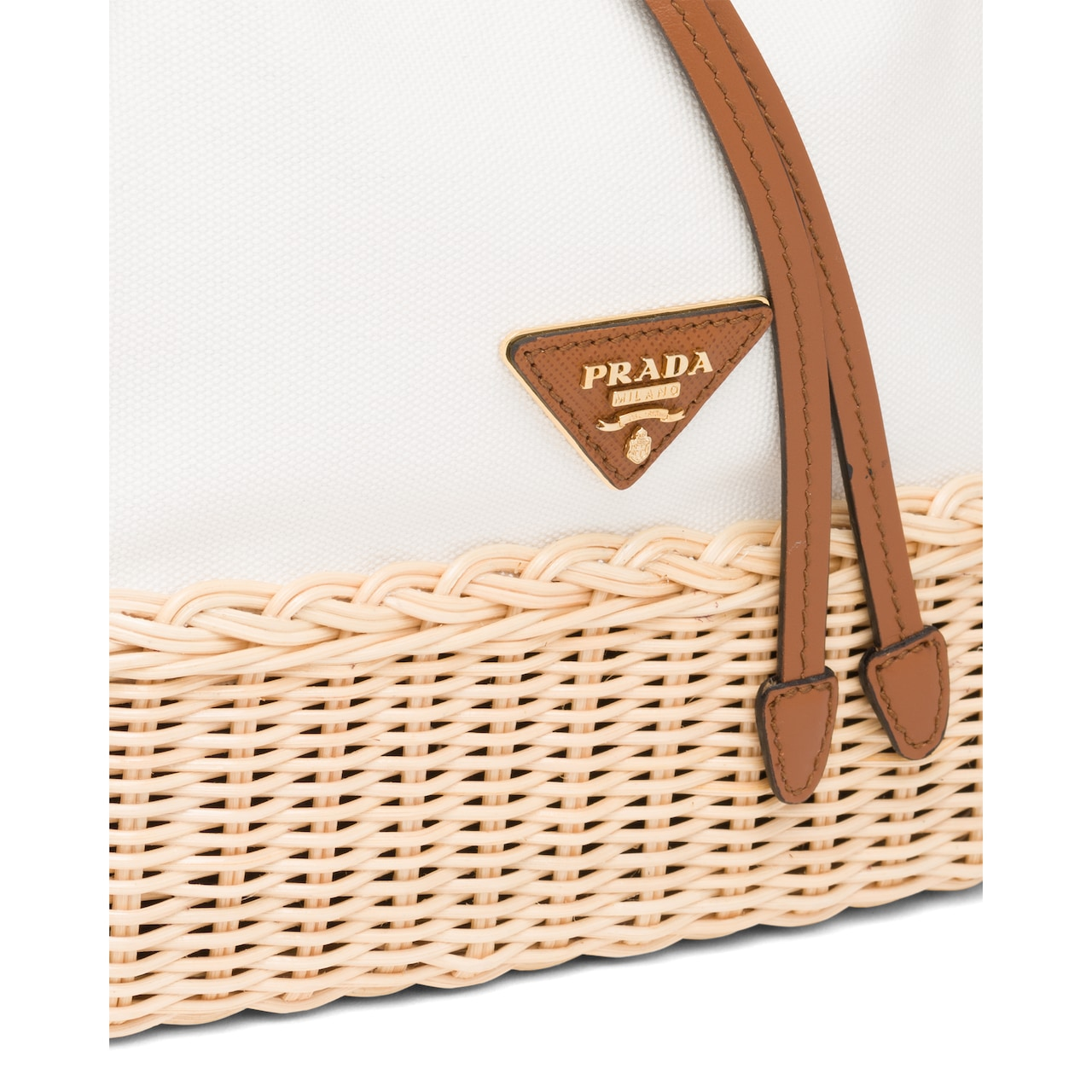Prada Prada Plage wicker and canvas bucket bag 6