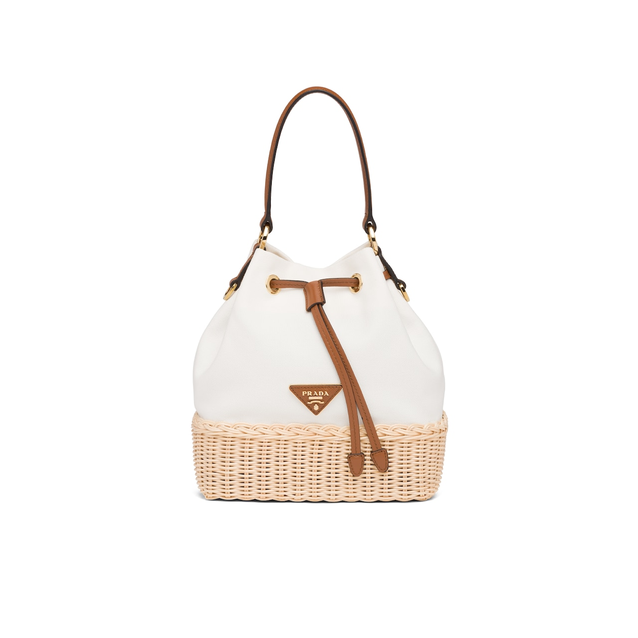 Prada Prada Plage wicker and canvas bucket bag 1