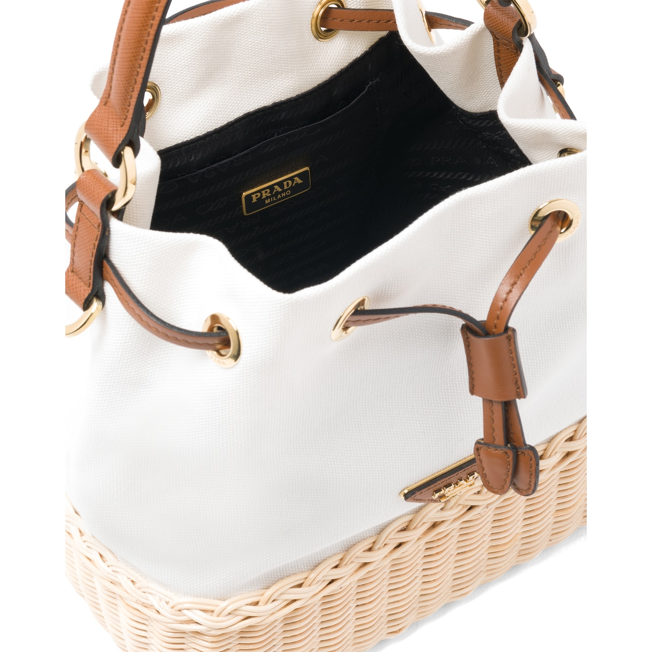 Prada Prada Plage wicker and canvas bucket bag 5
