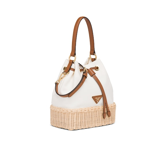 Prada Prada Plage wicker and canvas bucket bag 2