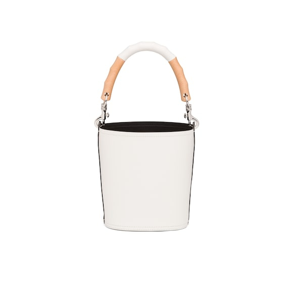 Prada Leather bucket bag with wooden handle 4