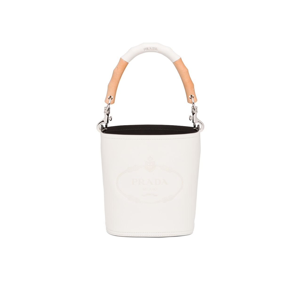 Prada Leather bucket bag with wooden handle 1