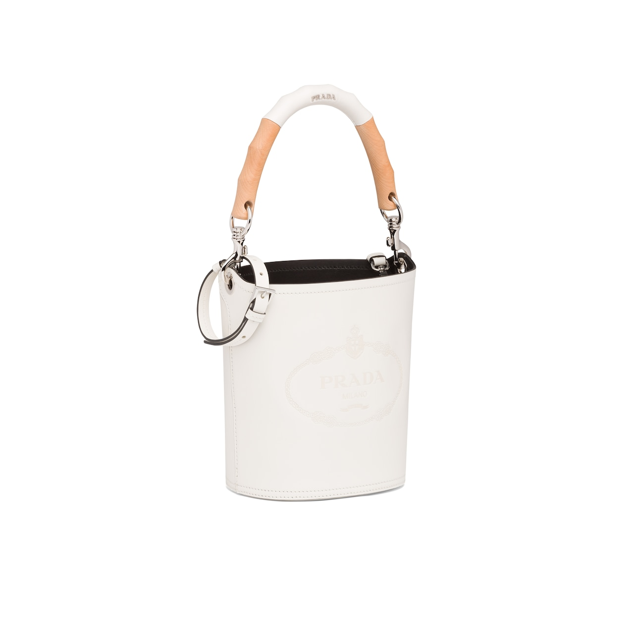 Prada Leather bucket bag with wooden handle 3