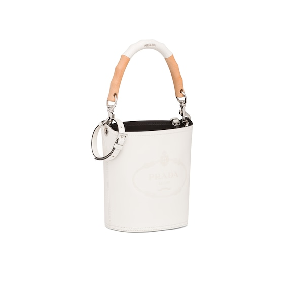 Prada Leather bucket bag with wooden handle 2