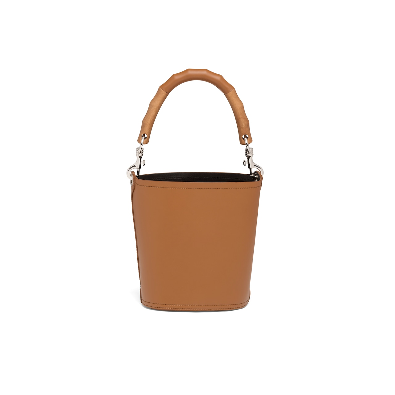 Leather bucket bag with wooden handle 4
