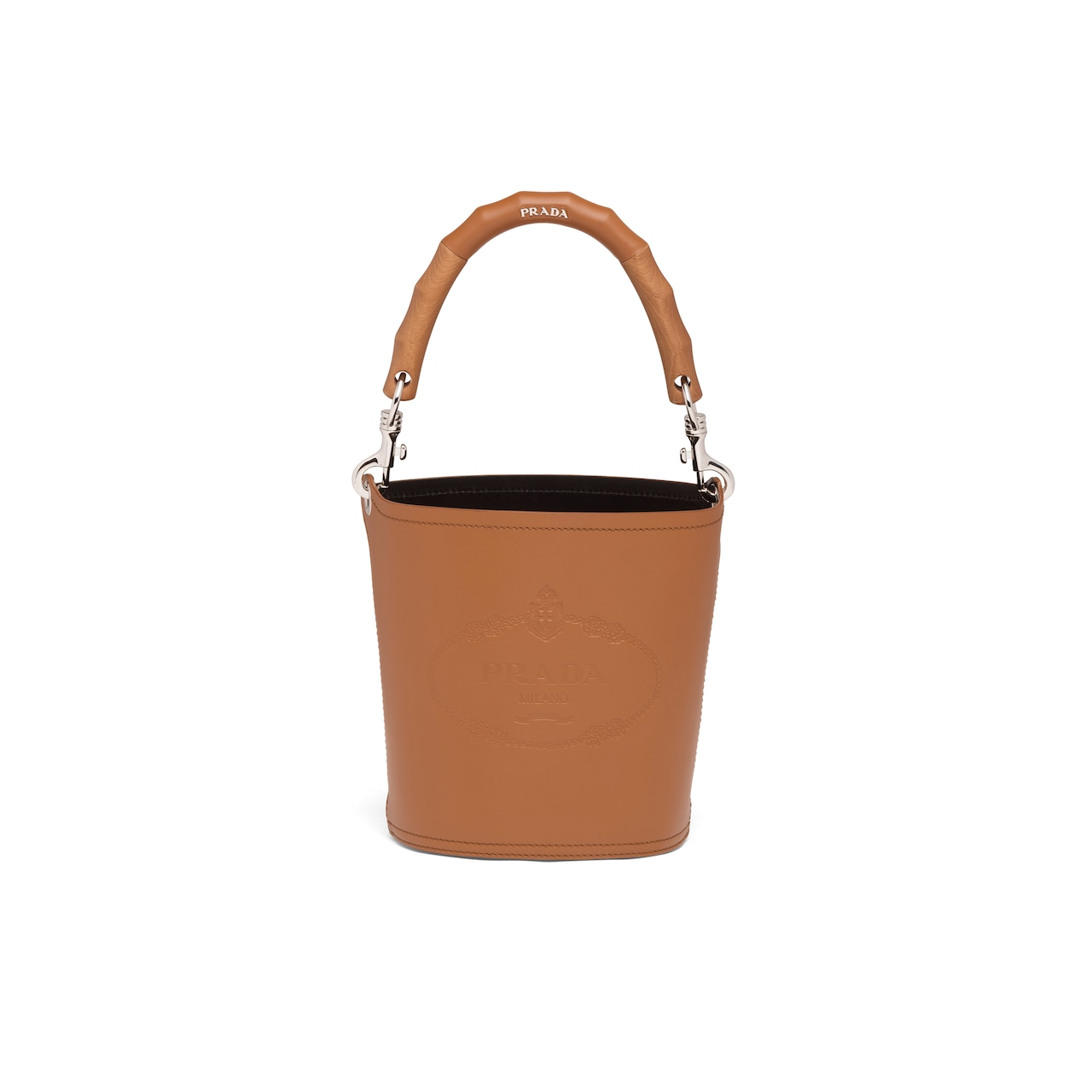 Leather bucket bag with wooden handle