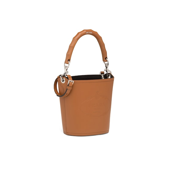 Prada Leather bucket bag with wooden handle 2