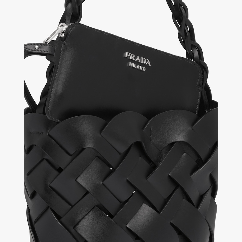Leather Prada Tress Bucket Bag