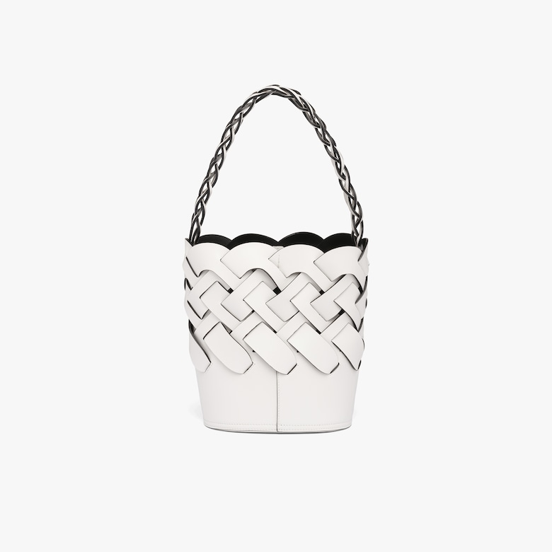 Bucket bag with large woven motif