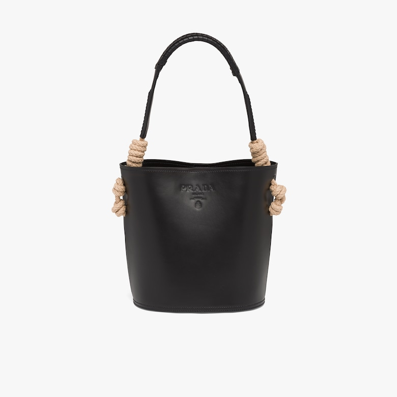 Leather bucket bag with cord detail