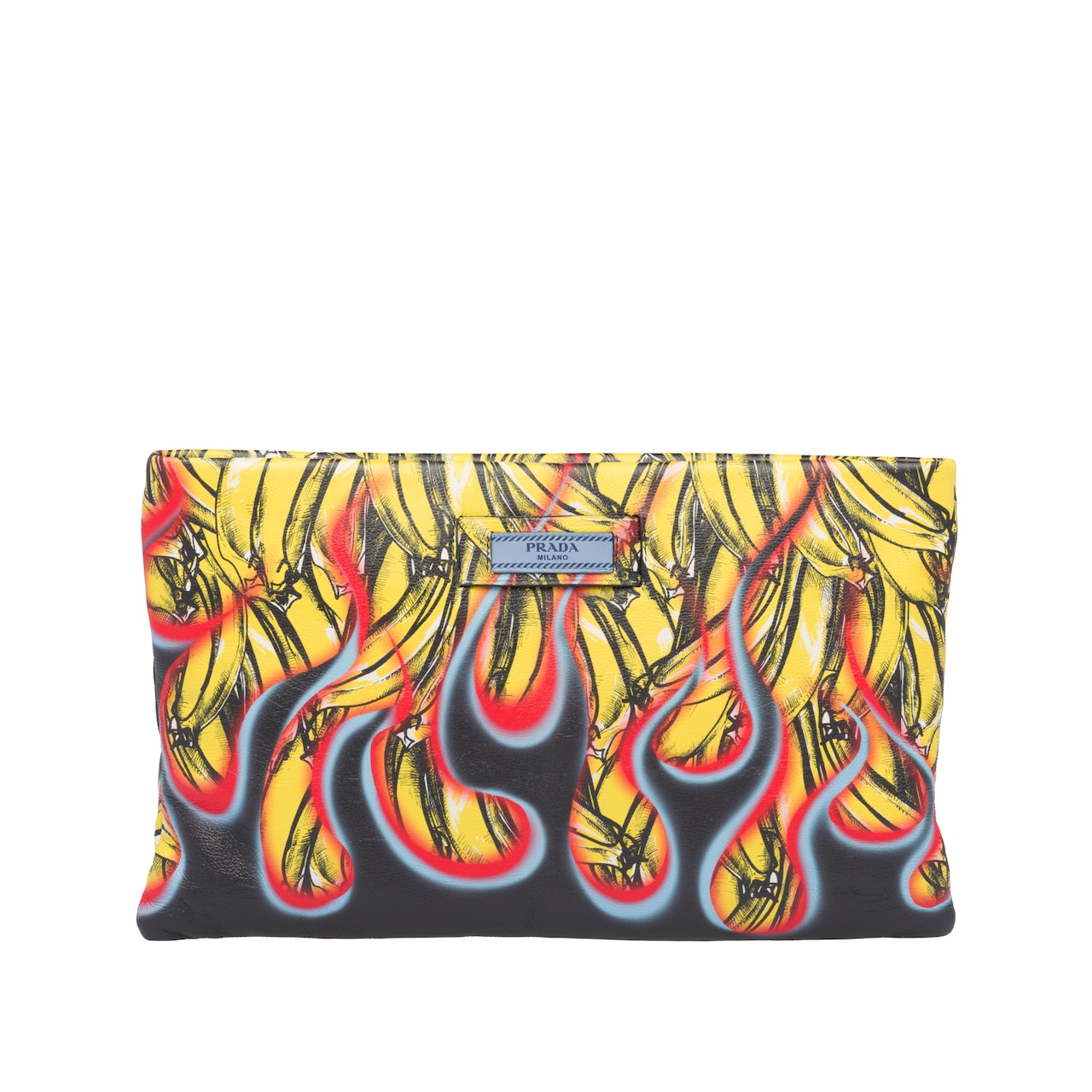 Printed leather clutch