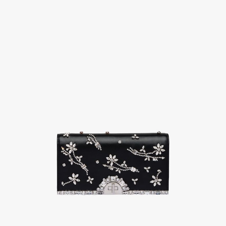 Nappa leather clutch with crystals