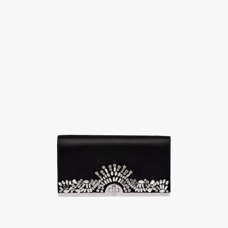 Satin clutch with crystals