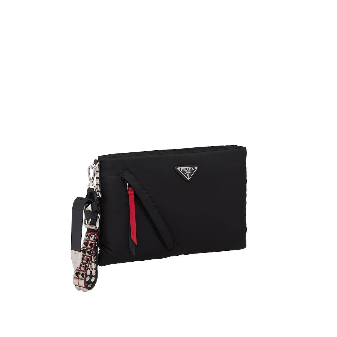 Prada Black nylon clutch with leather and studs 3