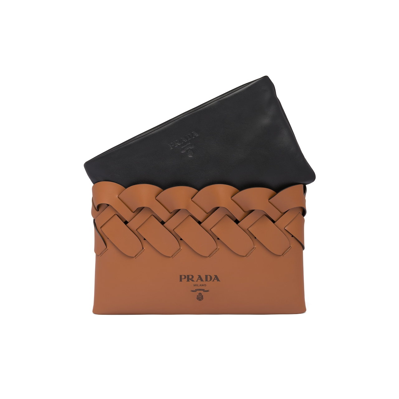 Prada Leather clutch with large woven motif 6