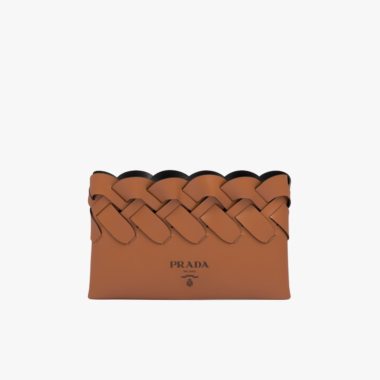 Prada Leather clutch with large woven motif - Woman