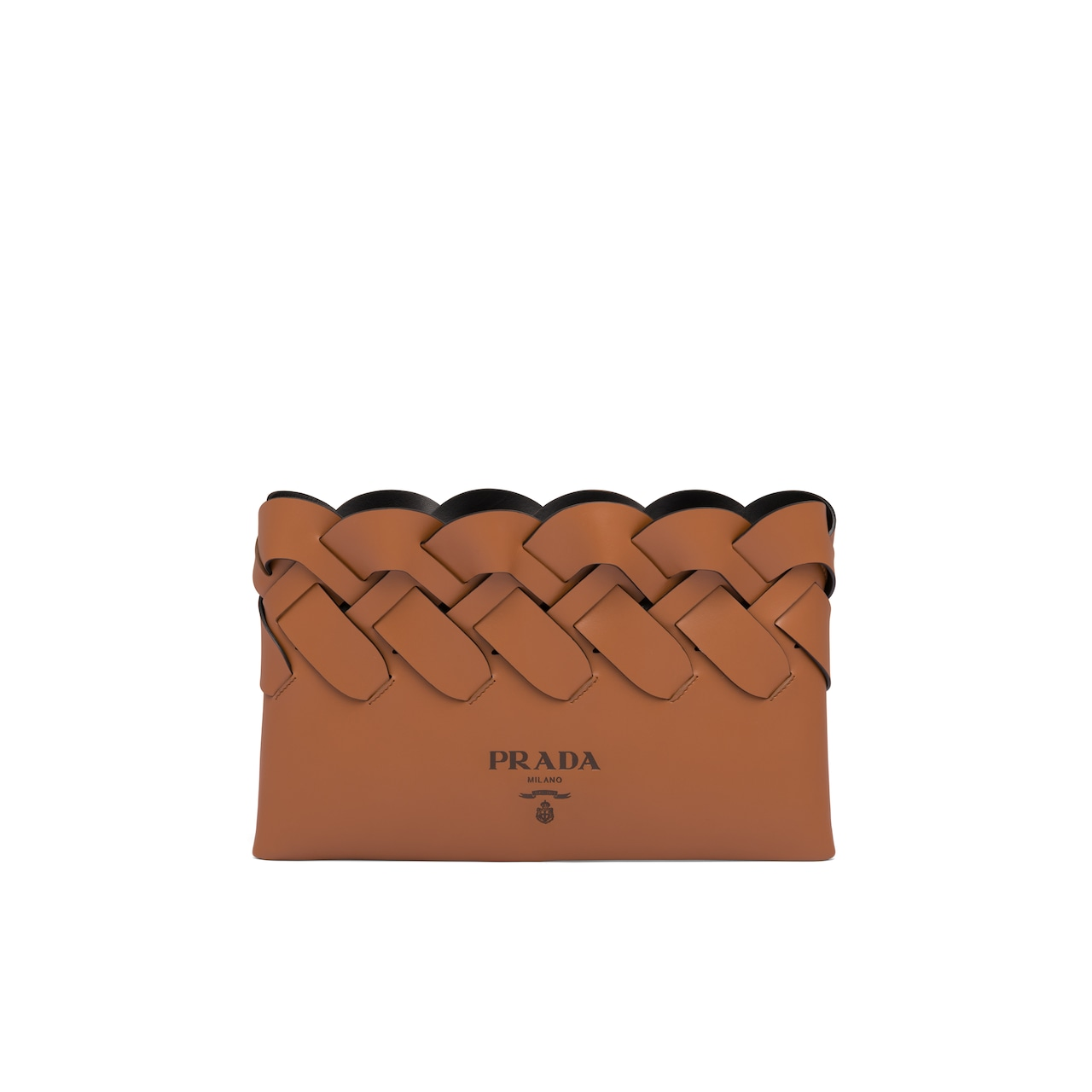 Prada Leather clutch with large woven motif 1