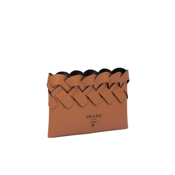 Prada Leather clutch with large woven motif 2