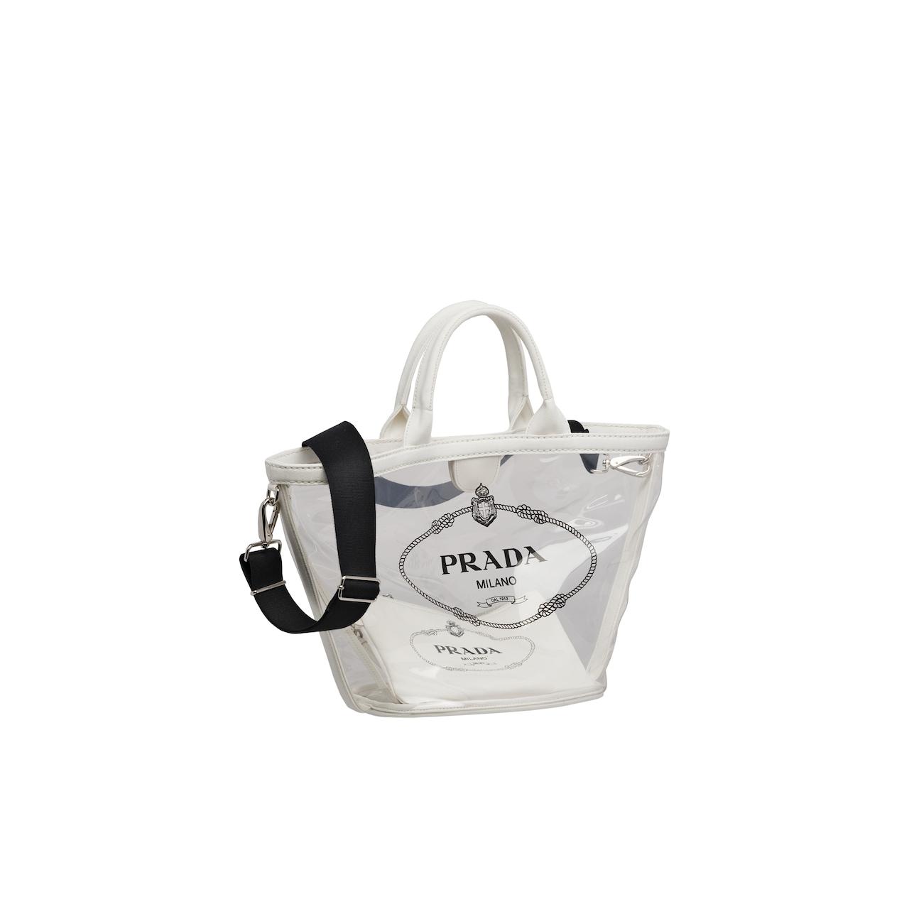 Fabric and Plexiglas handbag
