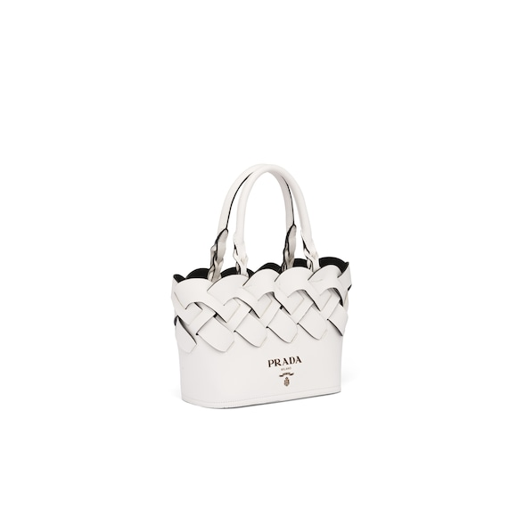 Prada Leather tote with large woven motif 2