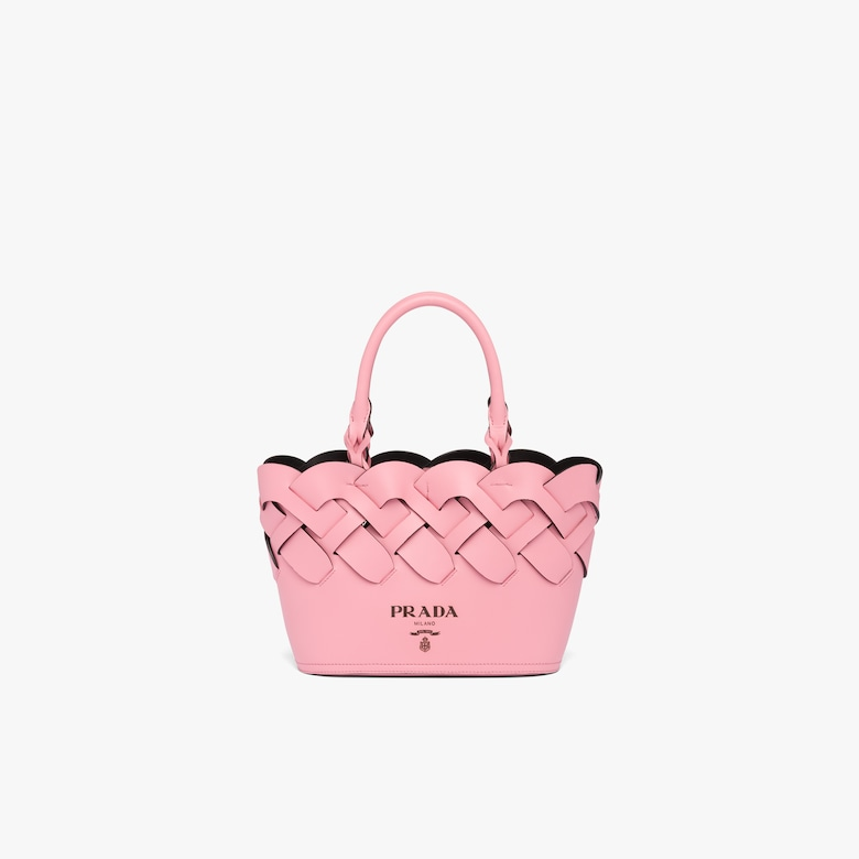 Prada Leather tote with large woven motif - Woman