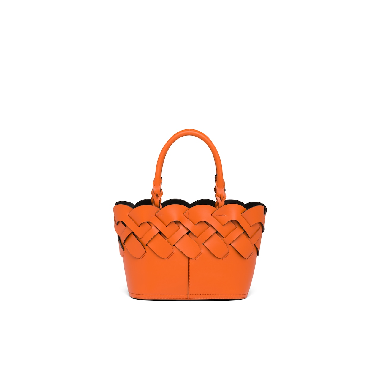 Prada Leather tote with large woven motif 4