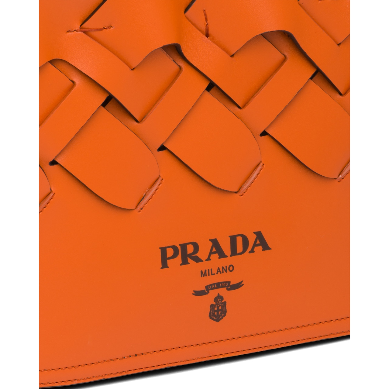 Prada Leather tote with large woven motif 6