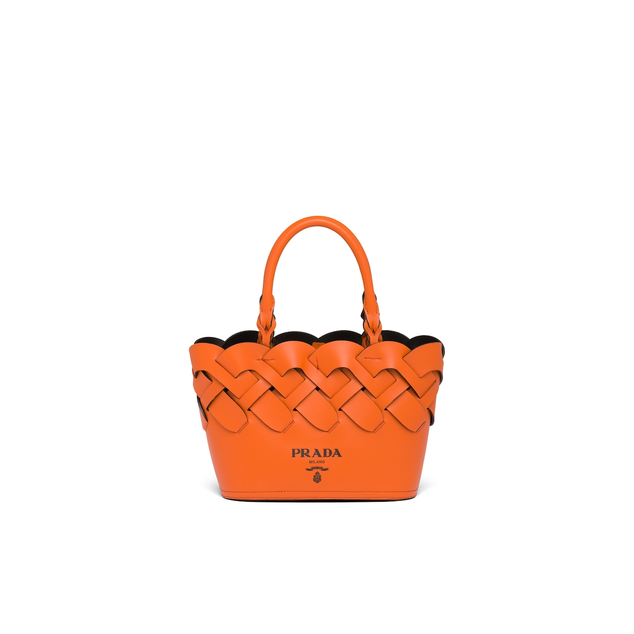 Prada Leather tote with large woven motif 1