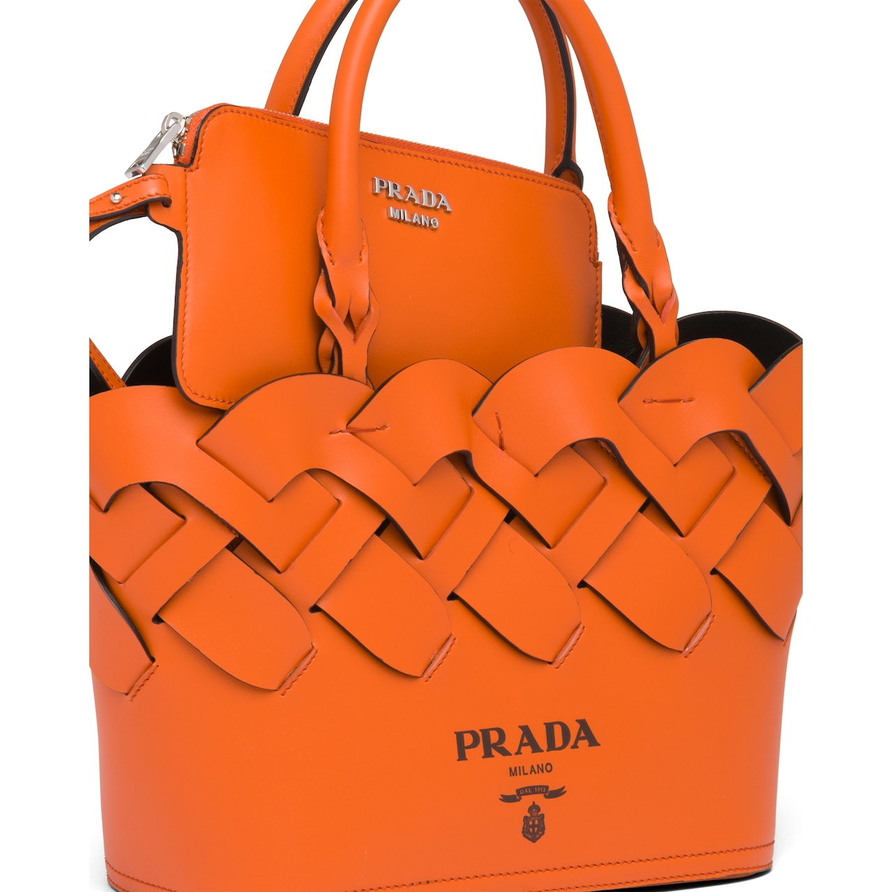 Prada Leather tote with large woven motif 5