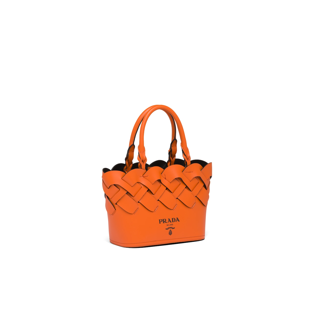Prada Leather tote with large woven motif 3