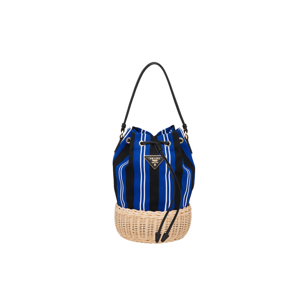 Wicker and canvas shoulder bag