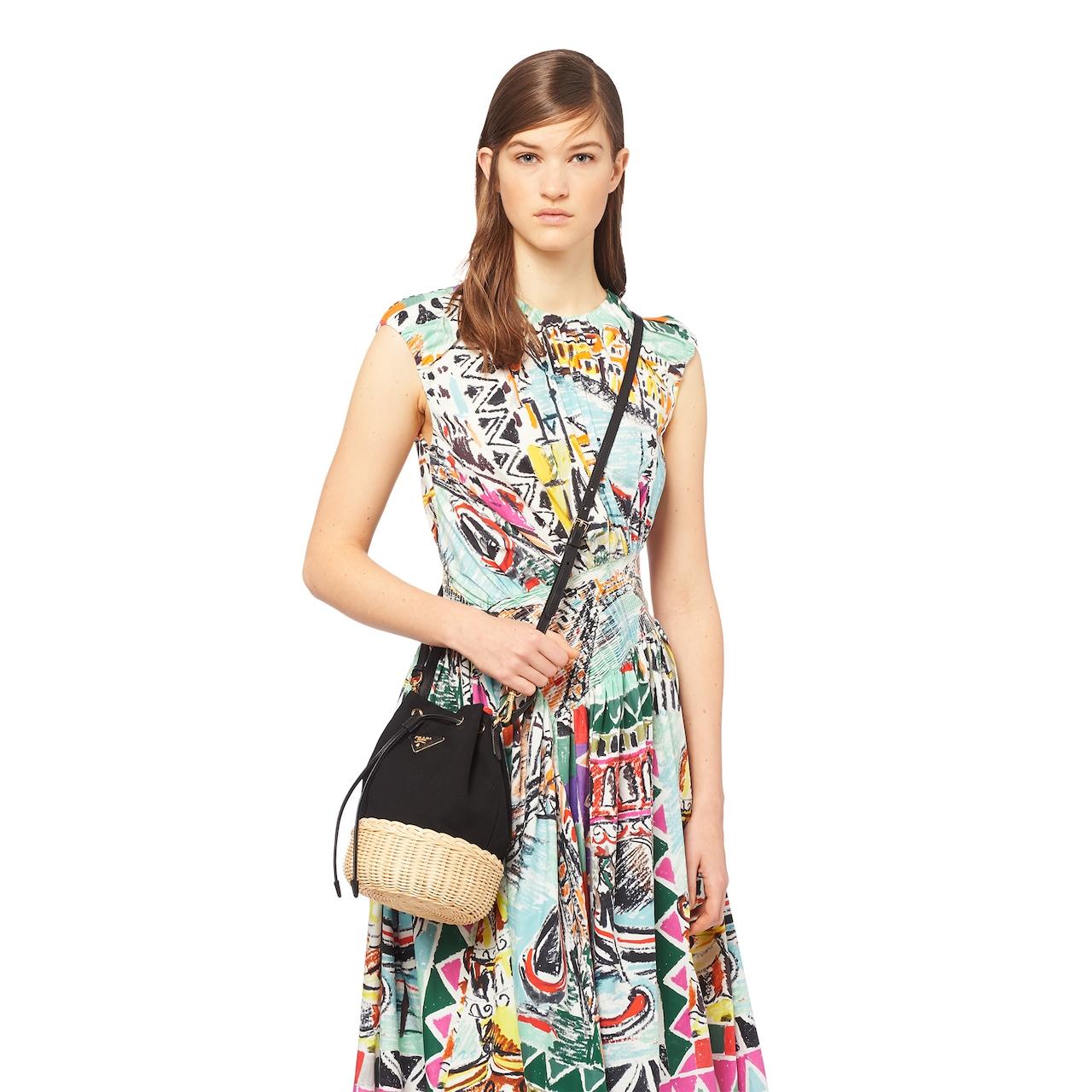 Wicker and canvas shoulder bag