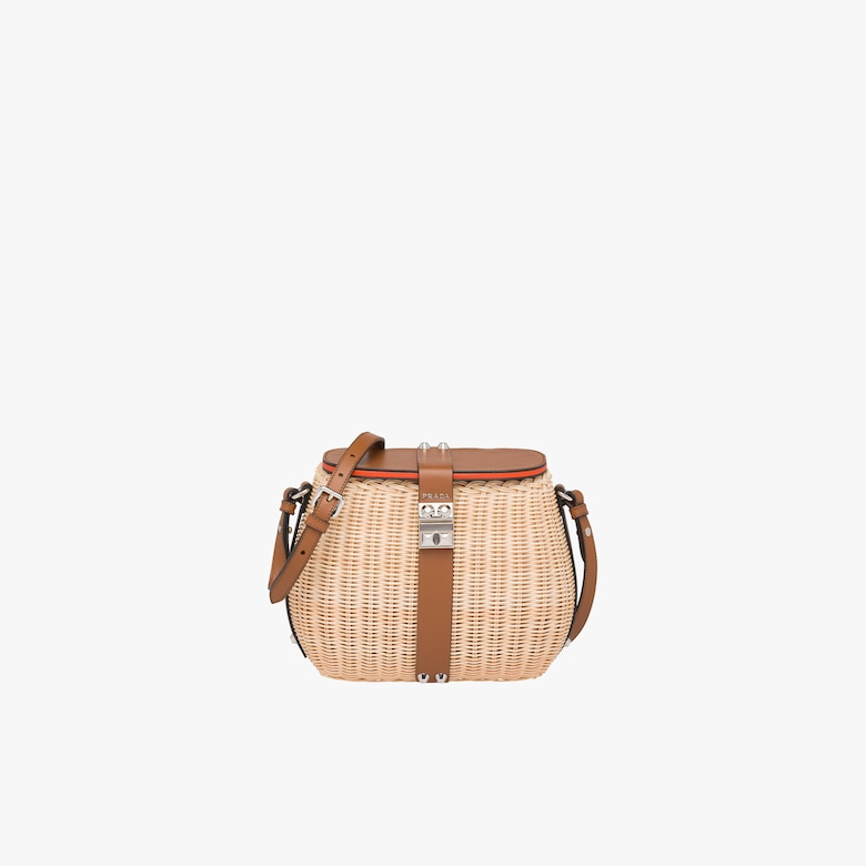 c85bef62406 Wicker and leather shoulder bag